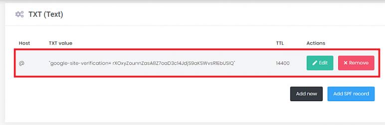 Yeni bir TXT kaydı ekleme ve Google site doğrulama