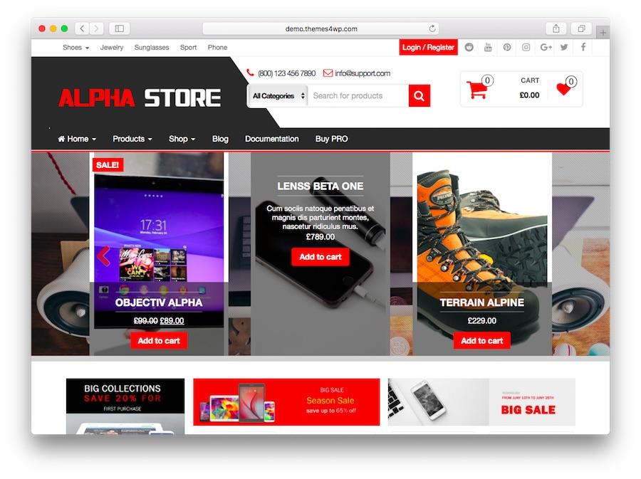 AlphaStore WordPress e-ticaret ana sayfası