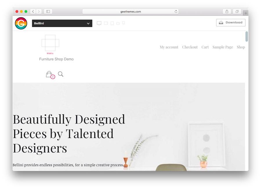WordPress e-ticaret için Bellini ana sayfa demosu