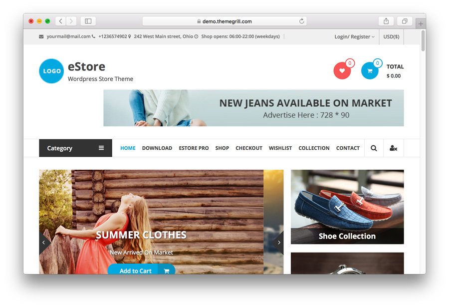 eStore WordPress e-Ticaret tema demosu