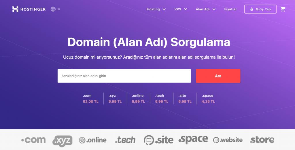 Hostinger'ın Domain Sorgulama Aracı