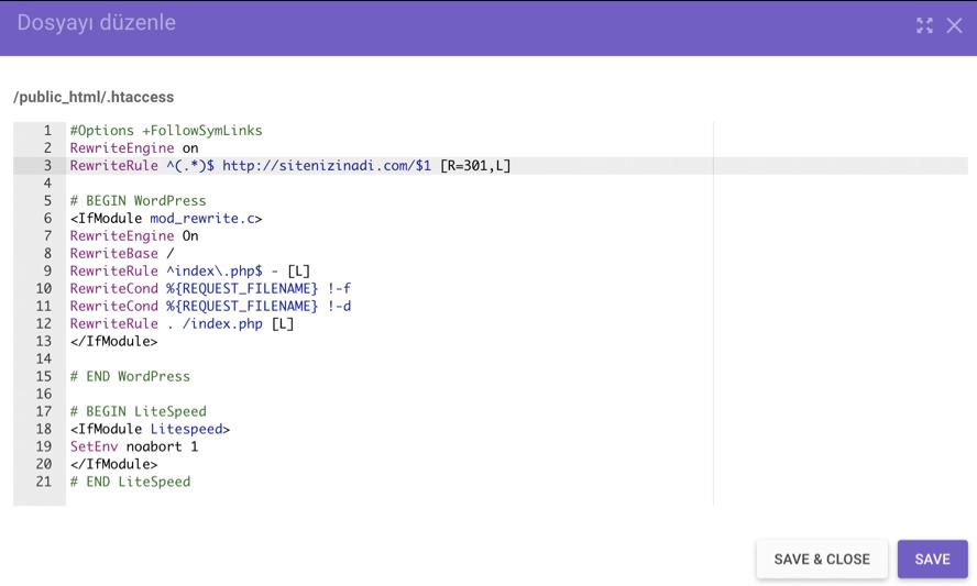 .htaccess dosyasını yeni domain adı ile düzenleme