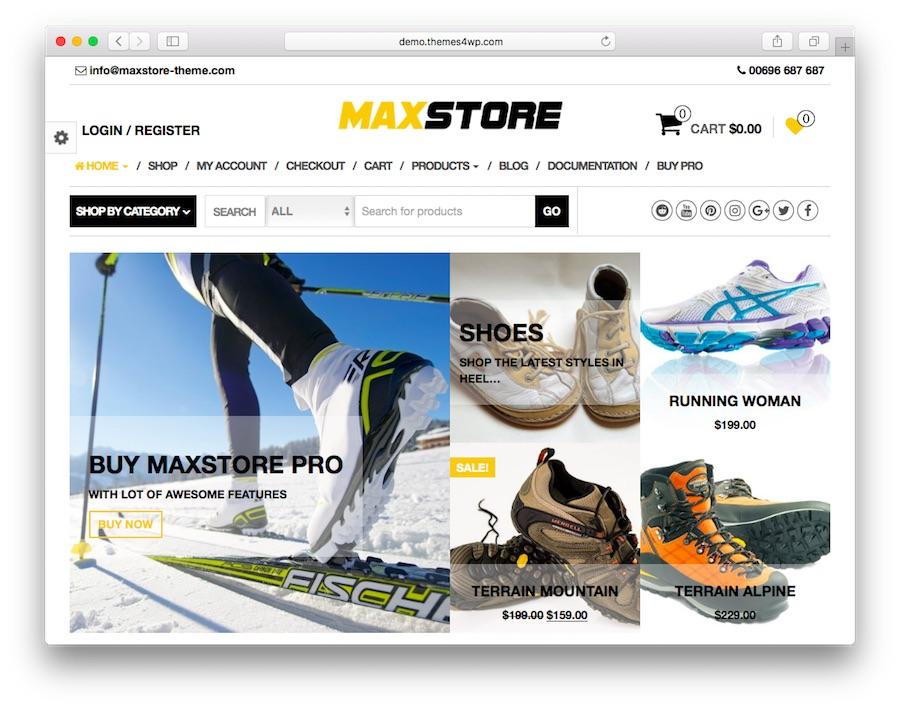 Max Store WooCommerce ana sayfası ön izlenimi
