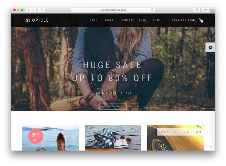 Shop Isle WordPress E-Ticaret teması ana sayfası