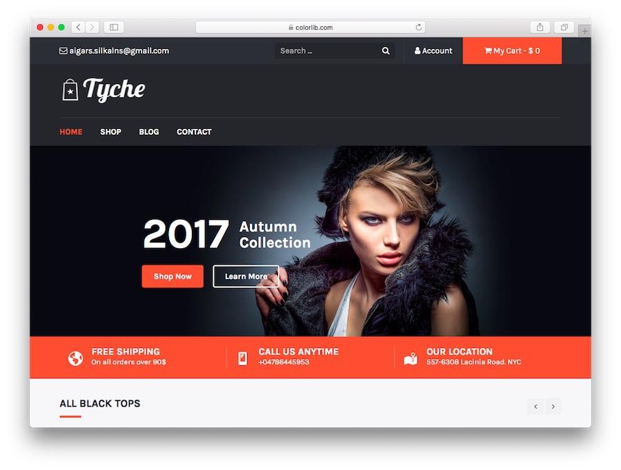 Tyche WordPress e-ticaret temasının demosu