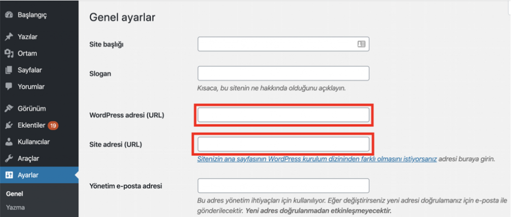 WordPress genel ayarlar sayfası