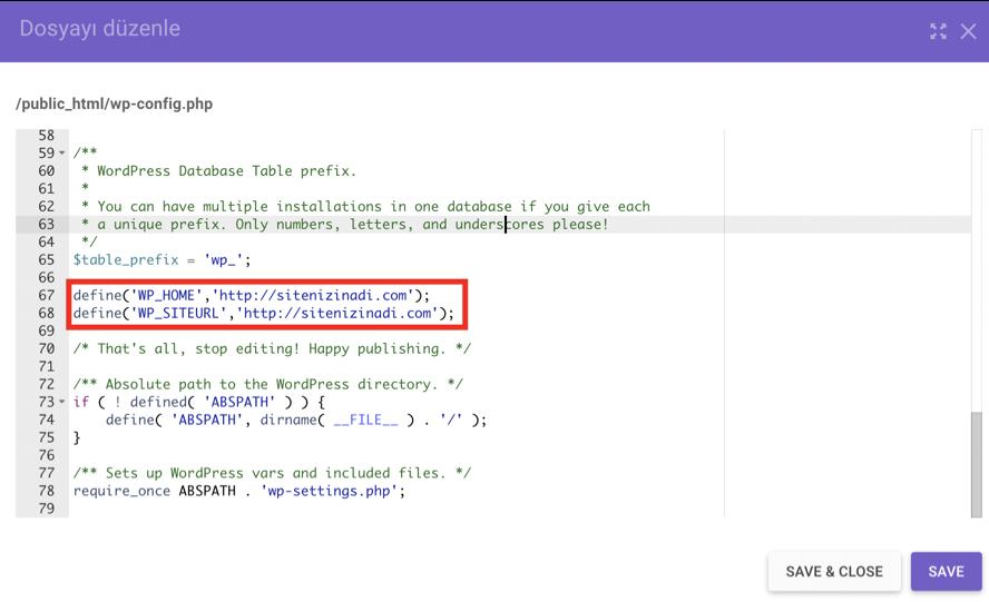 wp-config.php dosyasındaki kod parçacığı