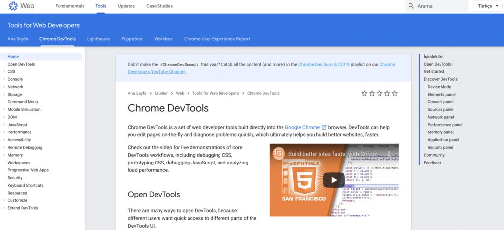 ChromeDevTools hız test aracı