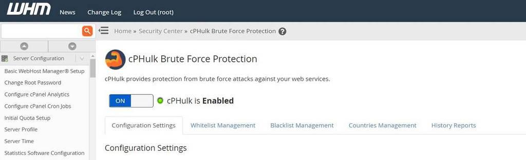 Bütün cPanel'ler için cPHulk koruması