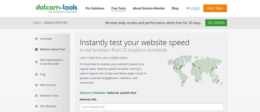 Dotcom-Monitor hız testi aracı