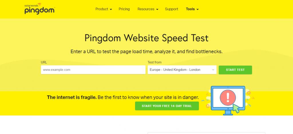 Pingdom site hız testi aracı