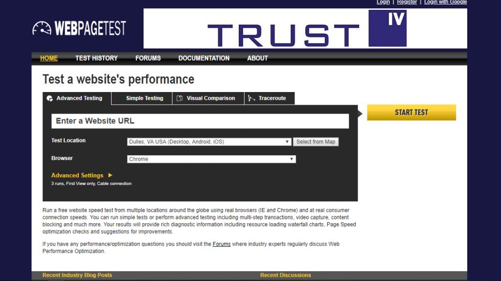 Webpagetest hız testi aracı