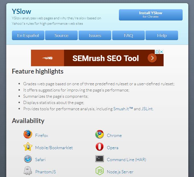 YSlow hız testi aracı