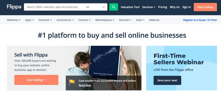 Web sitesi alım satımı için flippa ana sayfası