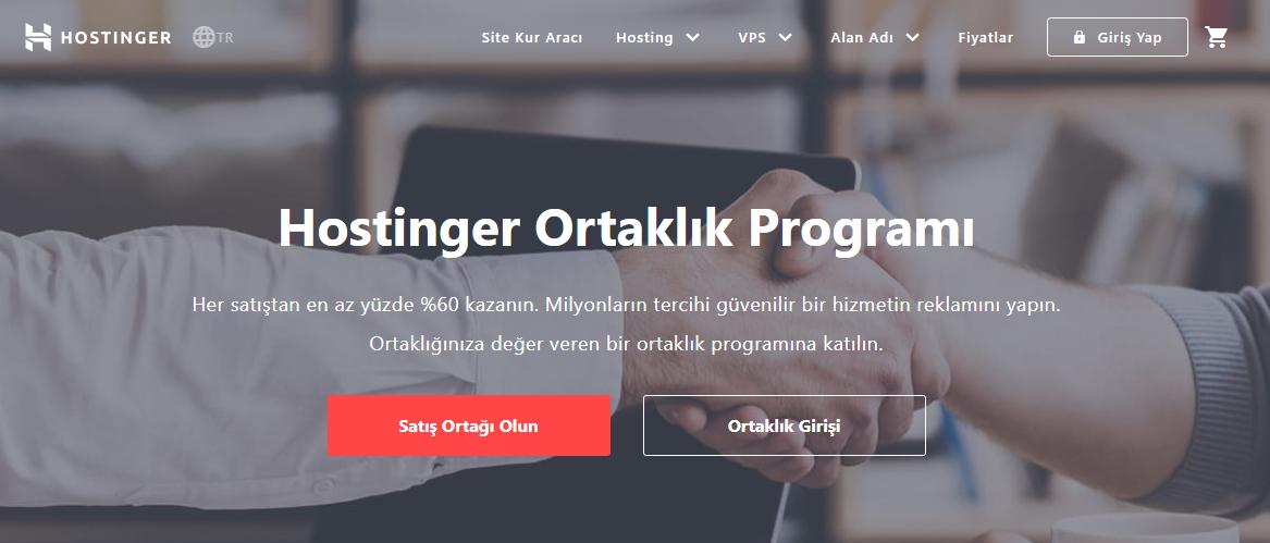Hostinger ortaklık programı ana sayfası