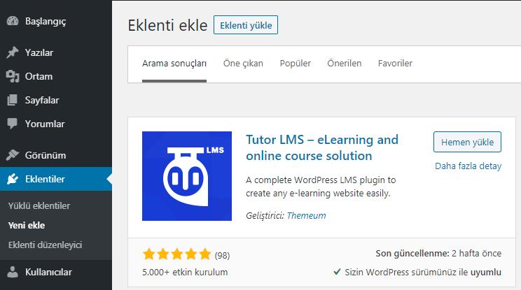 Tutor LMS eklentisini WordPress'e ekleme