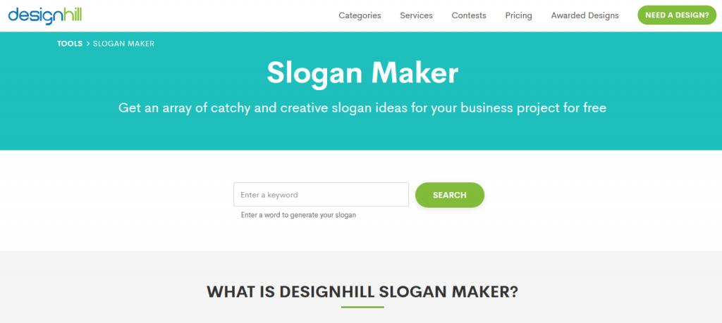 Design Hill slogan oluşturma sitesi
