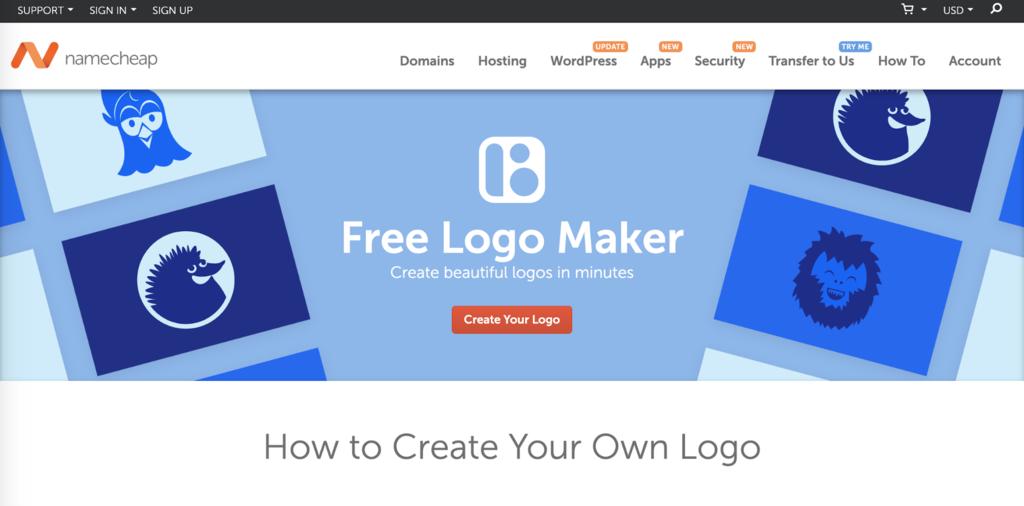NameCheap'in ücretsiz logo oluşturucu iniş sayfası
