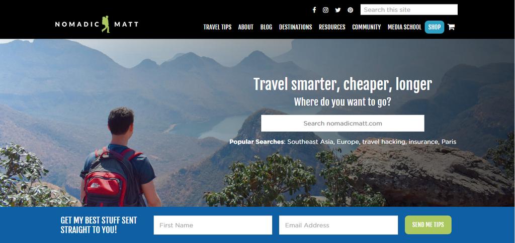 Nomadic Matt'in ana sayfası