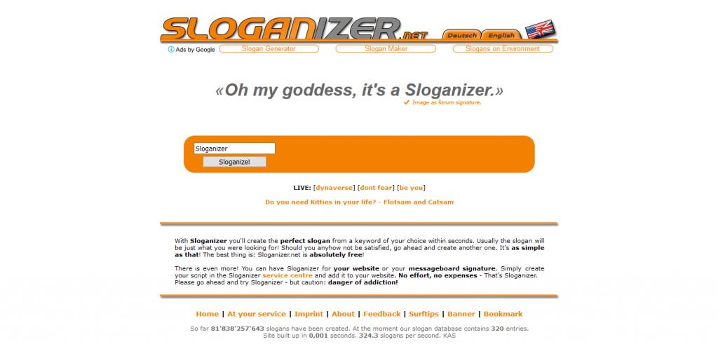 Sloganizer slogan oluşturma sitesi