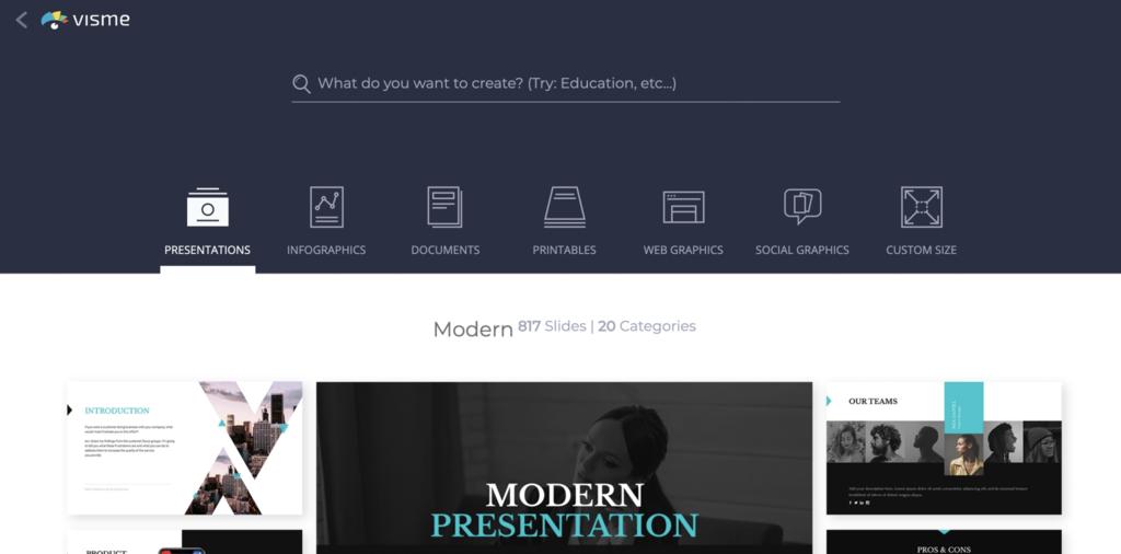 Visme ana sayfası