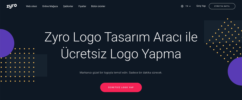Zyro'nun Logo Yapma Aracının iniş sayfası