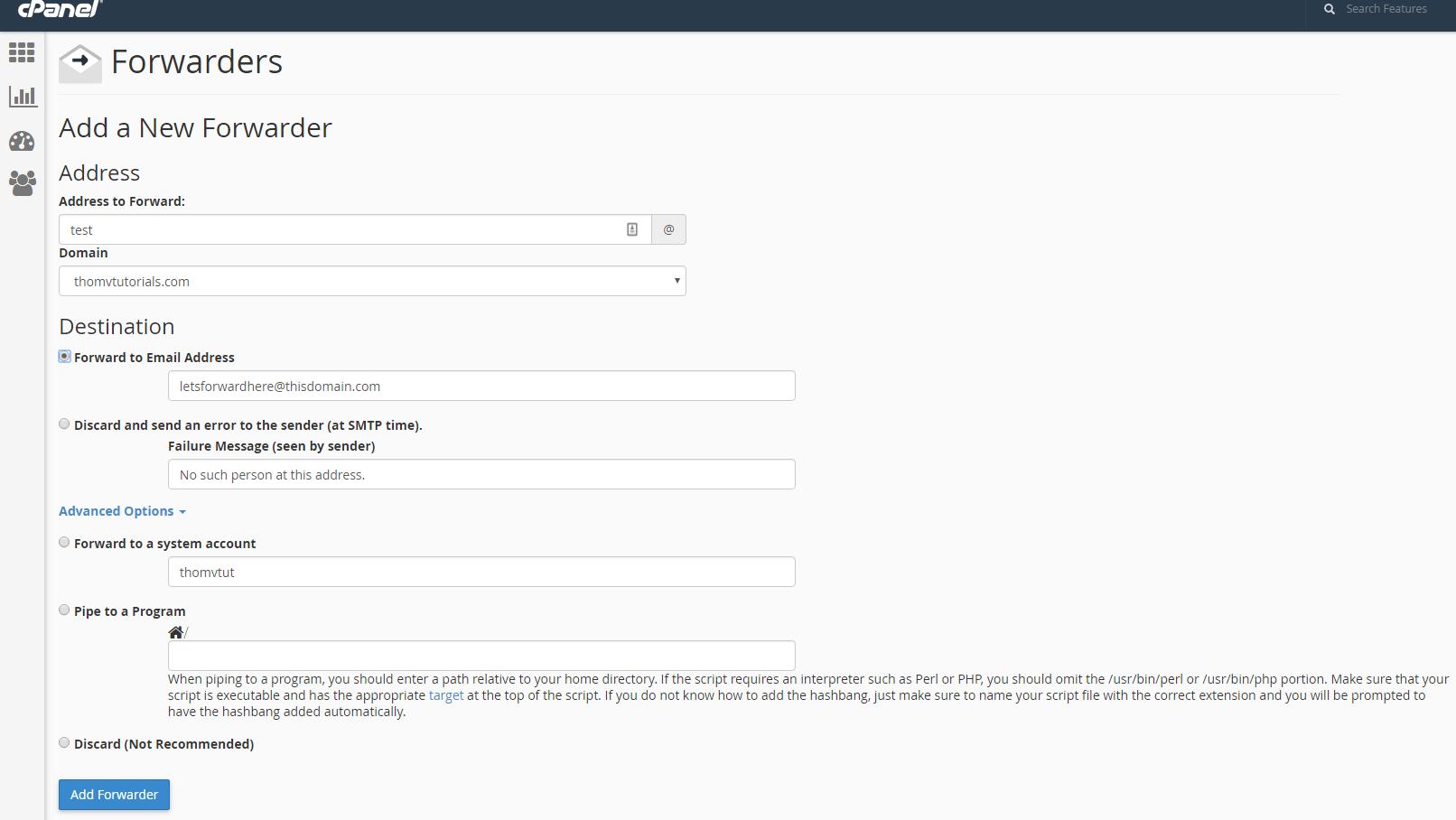 Mail yönlendirme için yeni bir yönlendirici ekleme
