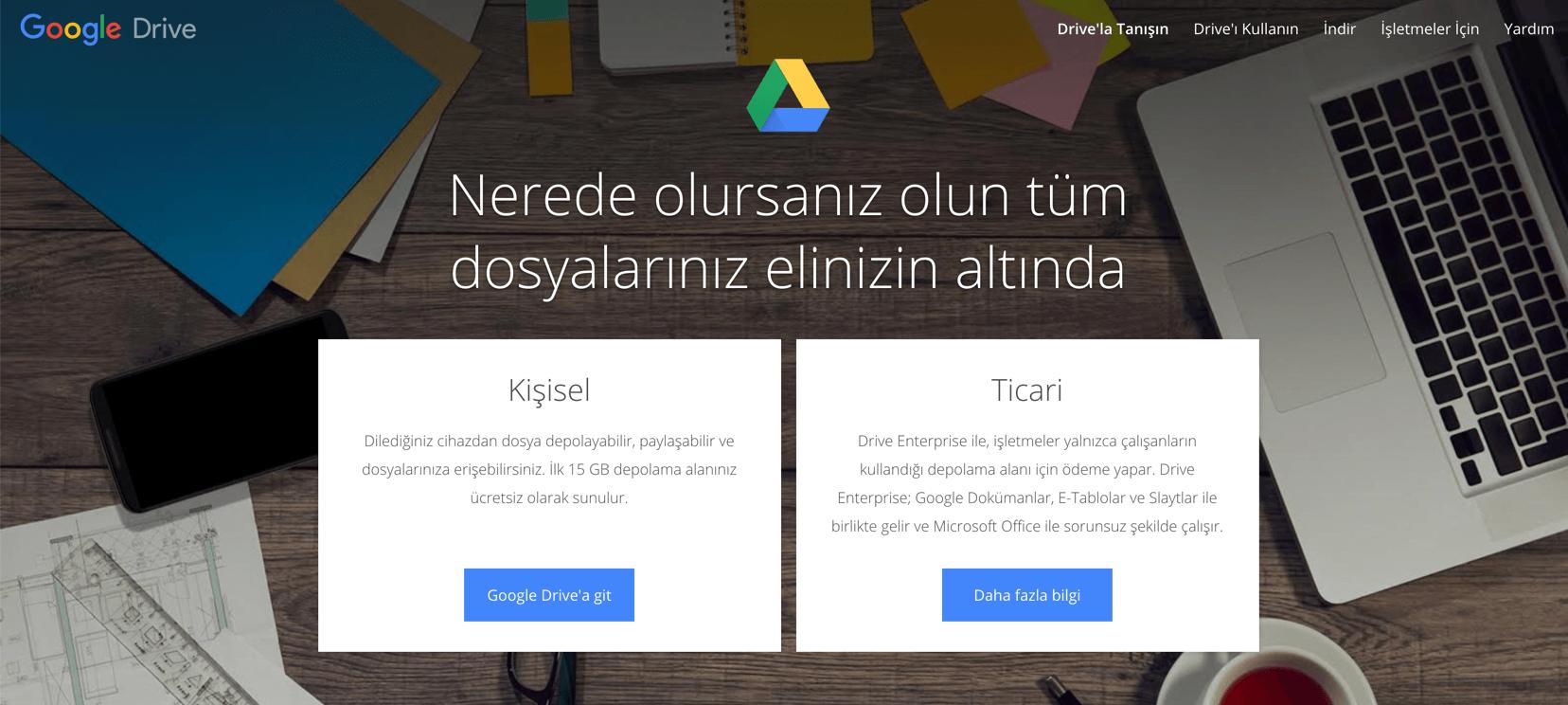 Google Drive online proje yönetimi yazılımı