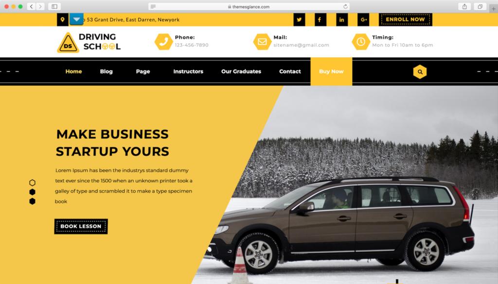 Driving School lite WordPress teması