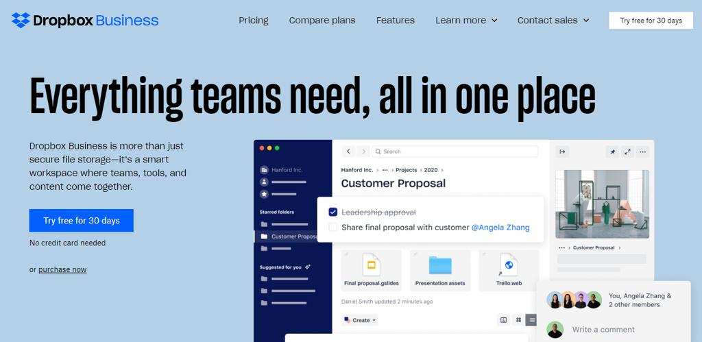 Dropbox Business proje yönetim programı