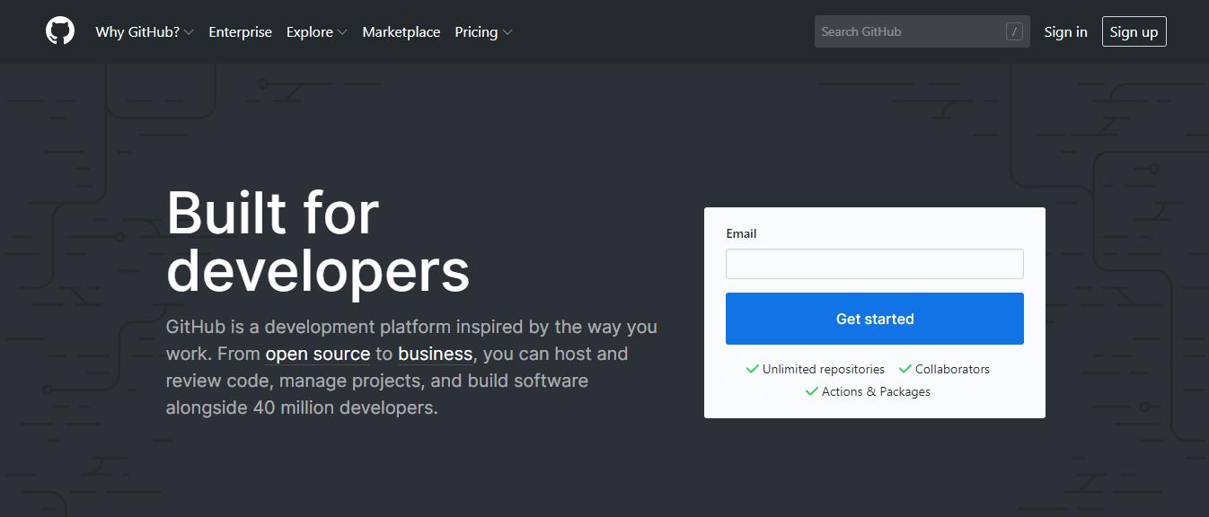 GitHub ana sayfası