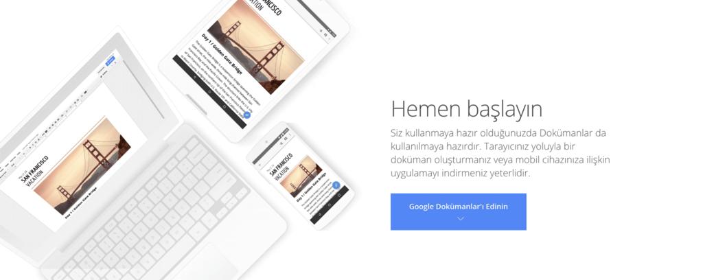 Google Dökümanlar ana sayfası