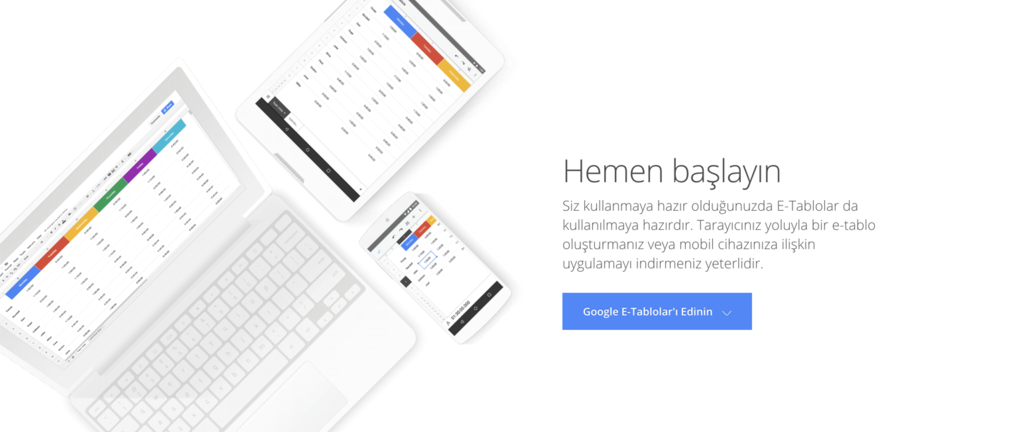 Google E-Tablolar giriş sayfası