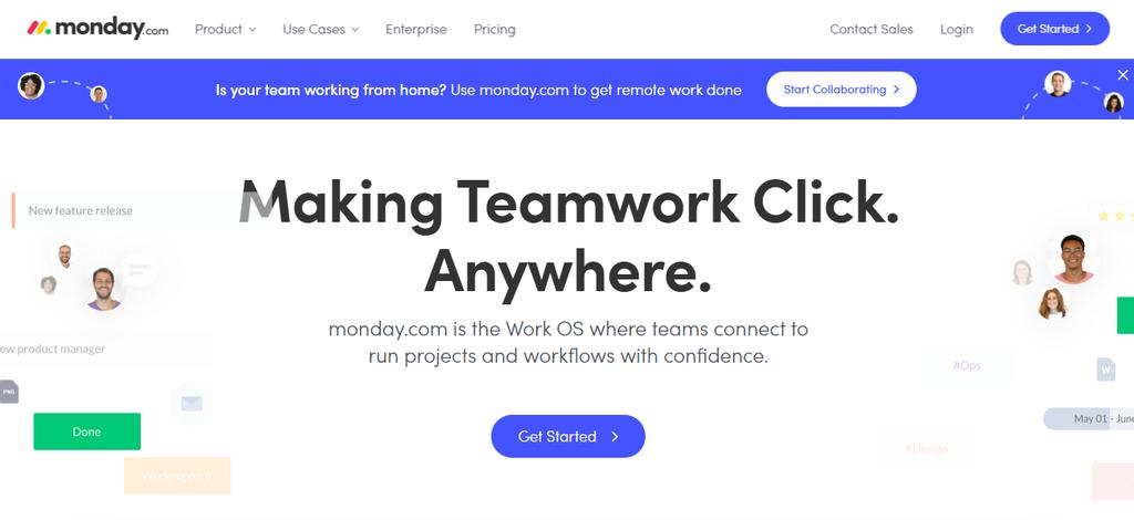 Monday.com'un ana sayfası