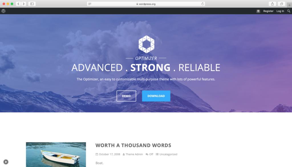 Optimizer WordPress teması