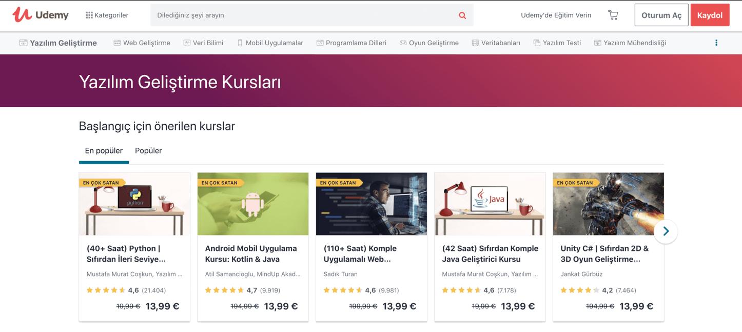 Kodlama öğrenmeye başlamak için udemy web geliştirme kursları