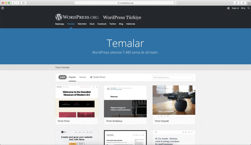 WordPress Tema Dizini aramaya başlamak için iyi bir seçimdir.