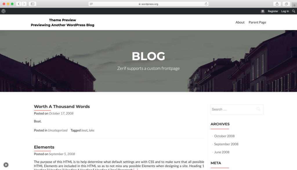 Zerif Lite WordPress teması
