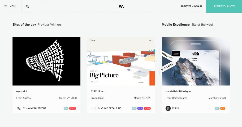 Awwwards, ödüllü web tasarım örnekleri