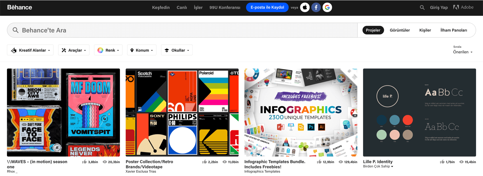 Web tasarım sitelerine bir örnek olarak Behance