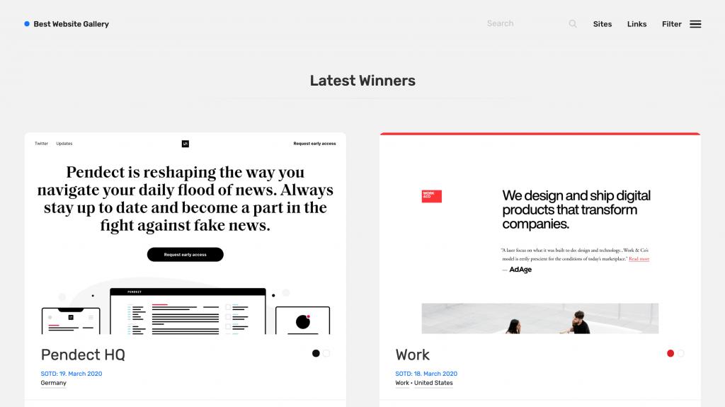 Web site tasarımı örnekleri için Best Website Gallery sitesi