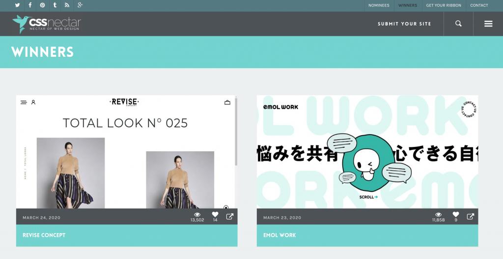 CSS Nectar, web tasarımı örnekleri galerisi
