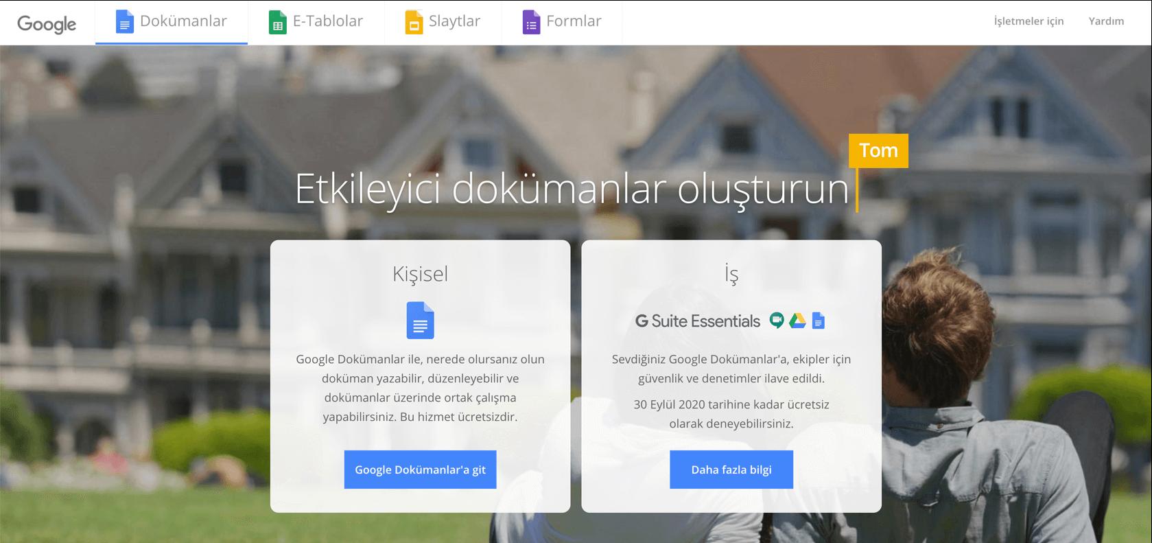 Google Dökümanlar açılış sayfasındaki eyleme çağrılar