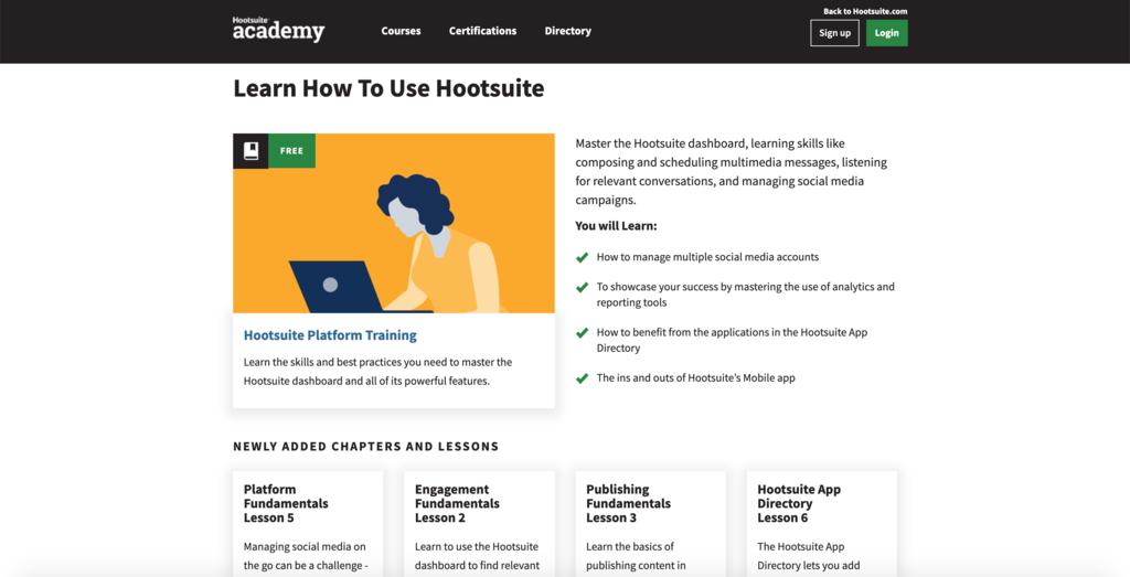 Hootsuite Akademi kursları örneği