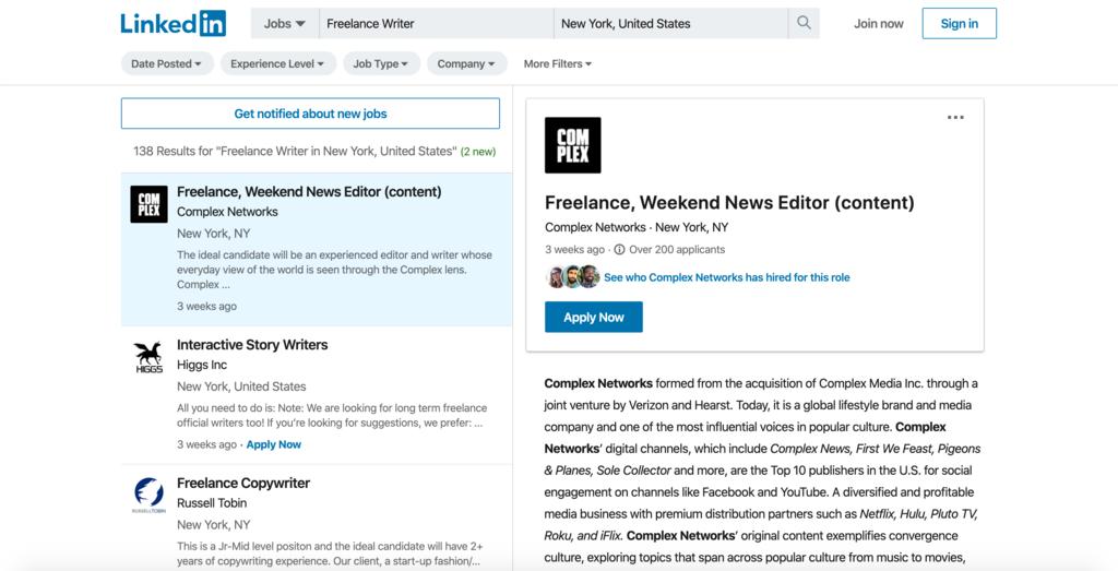 LinkedIn'de freelance yazarlık ilanı