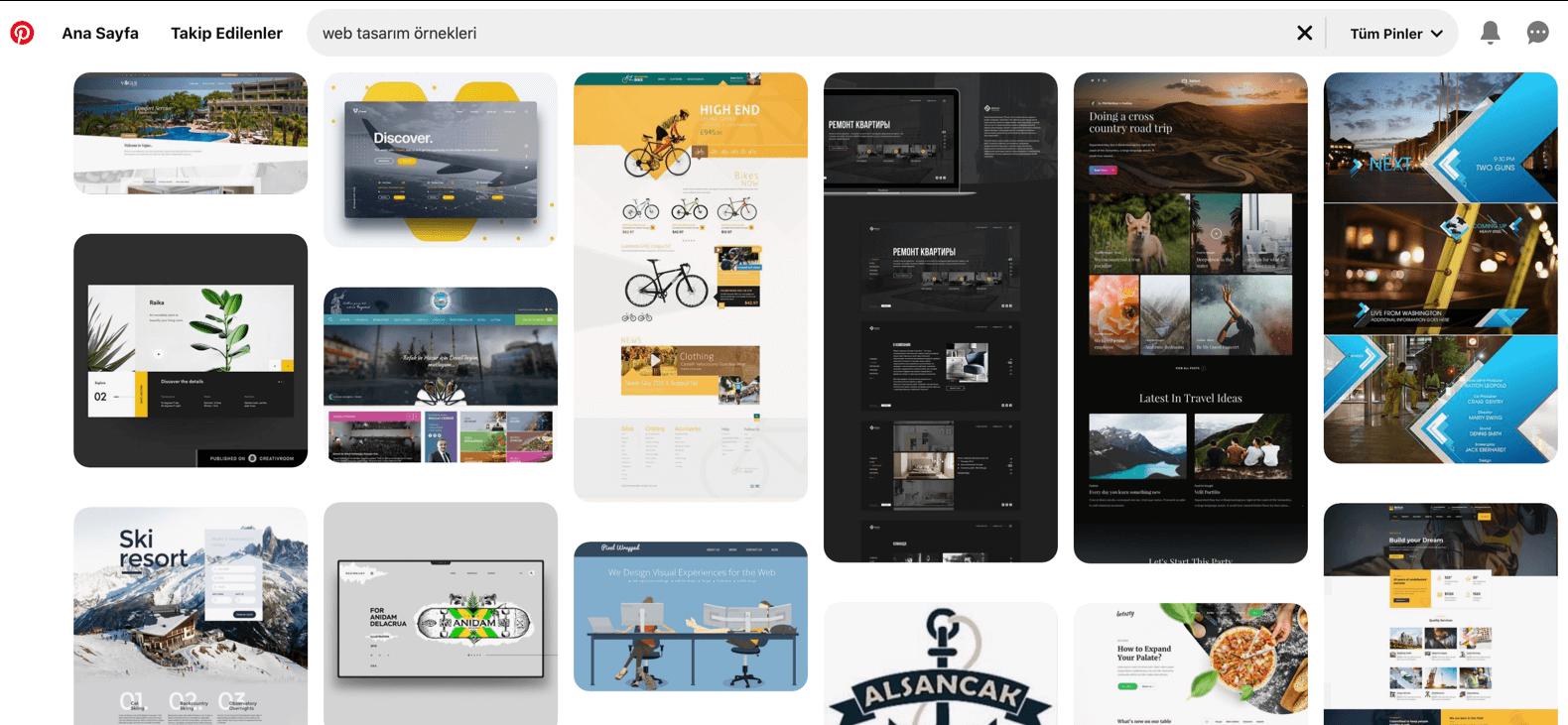 İyi web tasarım örnekleri bulabilmek için Pinterest