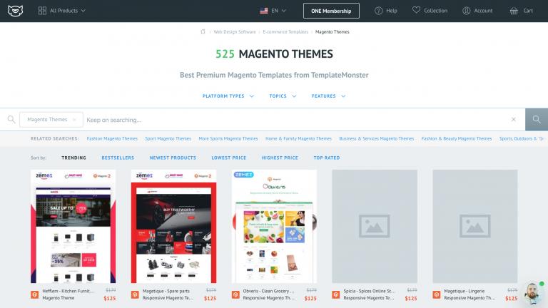 TemplateMonster'da Magento Temaları
