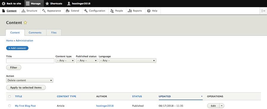 Drupal'da yeni blog gönderileri oluşturma