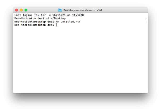 MacOS terminalinde dosya silme