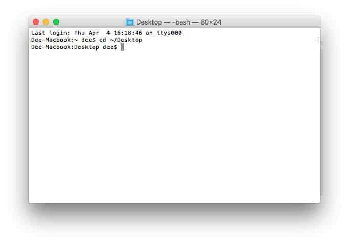 MacOS terminalde dizin değiştirme